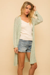3/4 SLEEVE LONG TEXTURE CARDIGAN