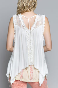 Ruffle trim lace detail shawl top