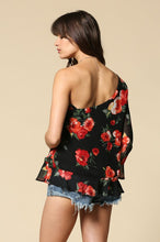 Load image into Gallery viewer, Rose Floral Print L/S One shoulder Tops