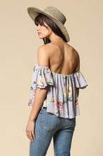 Load image into Gallery viewer, Elegant floral print sweetheart neck wired strapless arm piece top