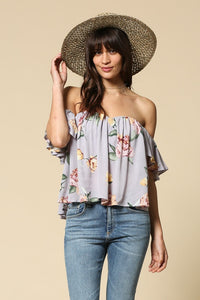 Elegant floral print sweetheart neck wired strapless arm piece top