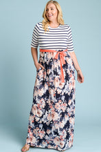 Load image into Gallery viewer, Floral/Stripe Belted Maxi Dress