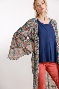 Floral Print Bell Sleeve Open Front Long Kimono