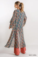 Load image into Gallery viewer, Floral Print Bell Sleeve Open Front Long Kimono
