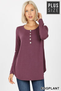 PLUS LONG SLEEVE DOLPHIN HEM SHELL BUTTON TOP