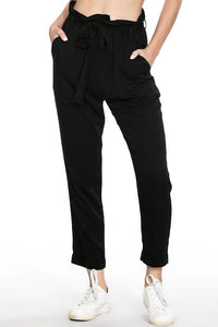 WAIST TIE LONG PANTS WITH POCKETS