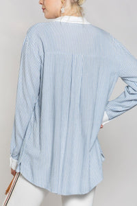 Basic and simple stripe woven button down shirt