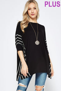 Solid Rayon Spandex Tunic Top with Stripe Contrast