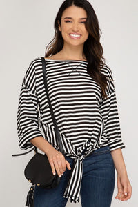 3/4 Sleeves Stripe Print Side Tie Detail Top
