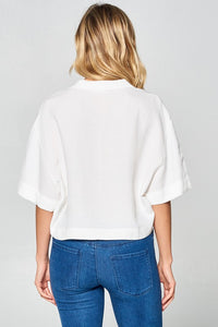 Solid Button Down Boxy Crop Top