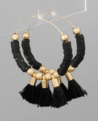 Rubber Bead Circle and Tassel Hoops