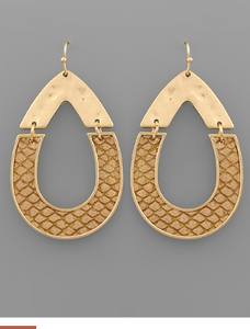 HALF LEATHER TEARDROP EARRINGS