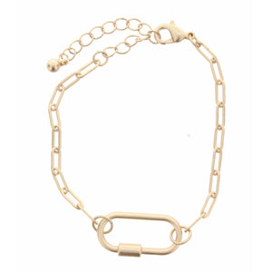"GOLD CHAIN LINK WITH OVAL CARABINER BRACELET, 2"" EXT."