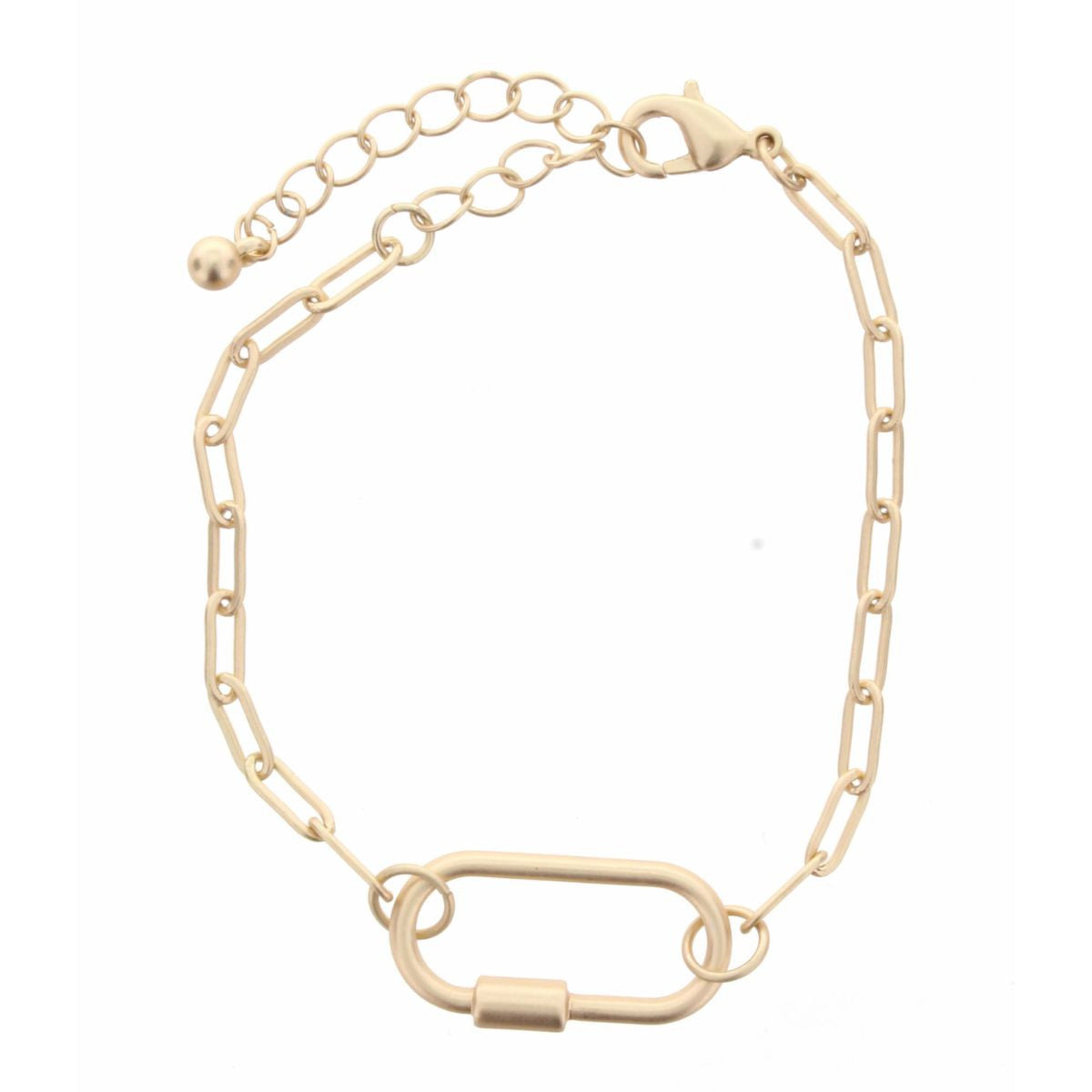 GOLD CHAIN LINK WITH OVAL CARABINER BRACELET, 2