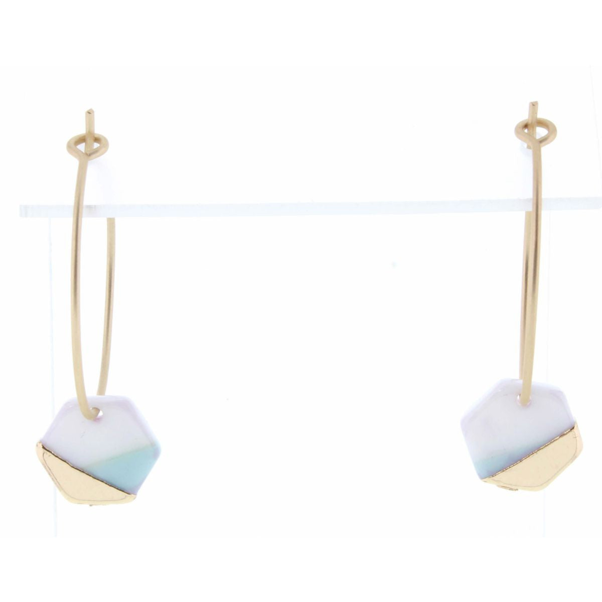 MINT, WHITE, AND GOLD COLORBLOCK HEXAGON EARRING