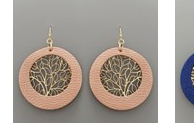 Load image into Gallery viewer, LEATHER FILIGREE CIRCLE EARRINGS
