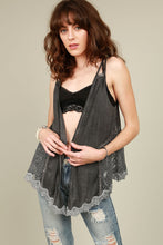 Load image into Gallery viewer, Open front shawl cardigan with x crossed shoulder strap and side floral lace detail