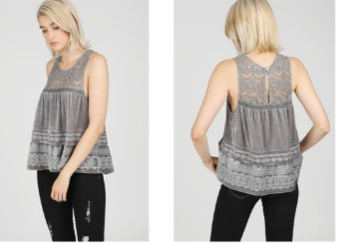 Sleeveless Embroidered Velvet Top with Crochet lace contrast