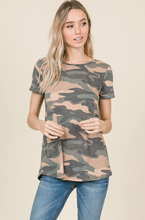 Load image into Gallery viewer, WIDE X-STRAP CAMO PRINT SHORT SLEEVE TOP