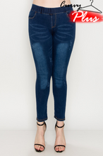 Load image into Gallery viewer, DENIM PRINT DISTRESSED JEGGINGS