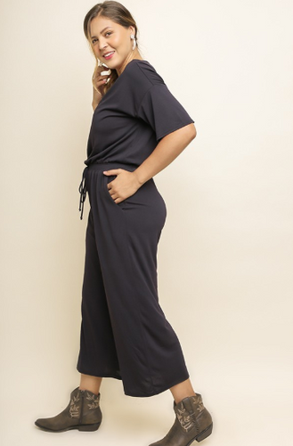SHORT SLEEVE V-NECK WIDE LEG JUMPSUIT