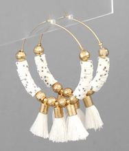 Load image into Gallery viewer, Rubber Bead Circle and Tassel Hoops