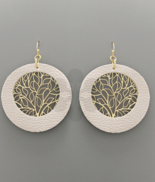 LEATHER FILIGREE CIRCLE EARRINGS