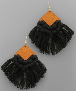 WOOD RHOMBUS AND TASSEL EARRINGS