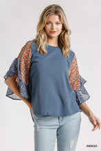 Load image into Gallery viewer, Floral and Animal Printed Ruffle Sleeve Top