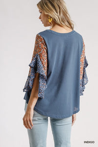 Floral and Animal Printed Ruffle Sleeve Top