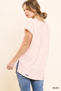 Gathered Short Sleeve V-Neck Knit Top with a Distressed Hem and Side Slits
