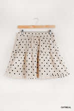 Load image into Gallery viewer, Linen Blend Polka Dot Drawstring Elastic Waist Band with Ruffle and Fray Hem Detail