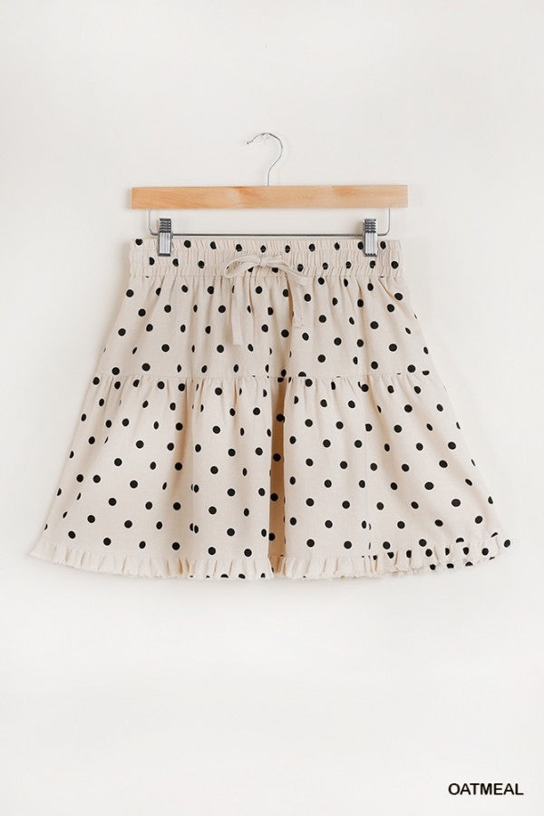Linen Blend Polka Dot Drawstring Elastic Waist Band with Ruffle and Fray Hem Detail