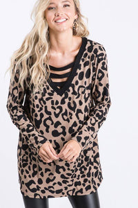 LONG SLEEVE V NECK WITH BAR DETAIL ANIMAL LEOPARD PRINT TOP