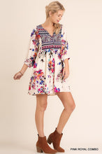 Load image into Gallery viewer, V-Neck Floral Print Peasant Dress