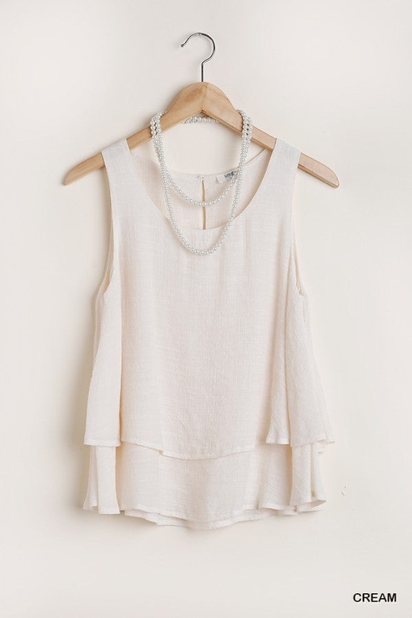 Sleeveless Layered Top with Keyhole Back