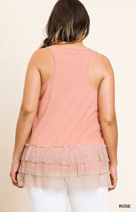 Sleeveless Top with Ruffles Lace Trim