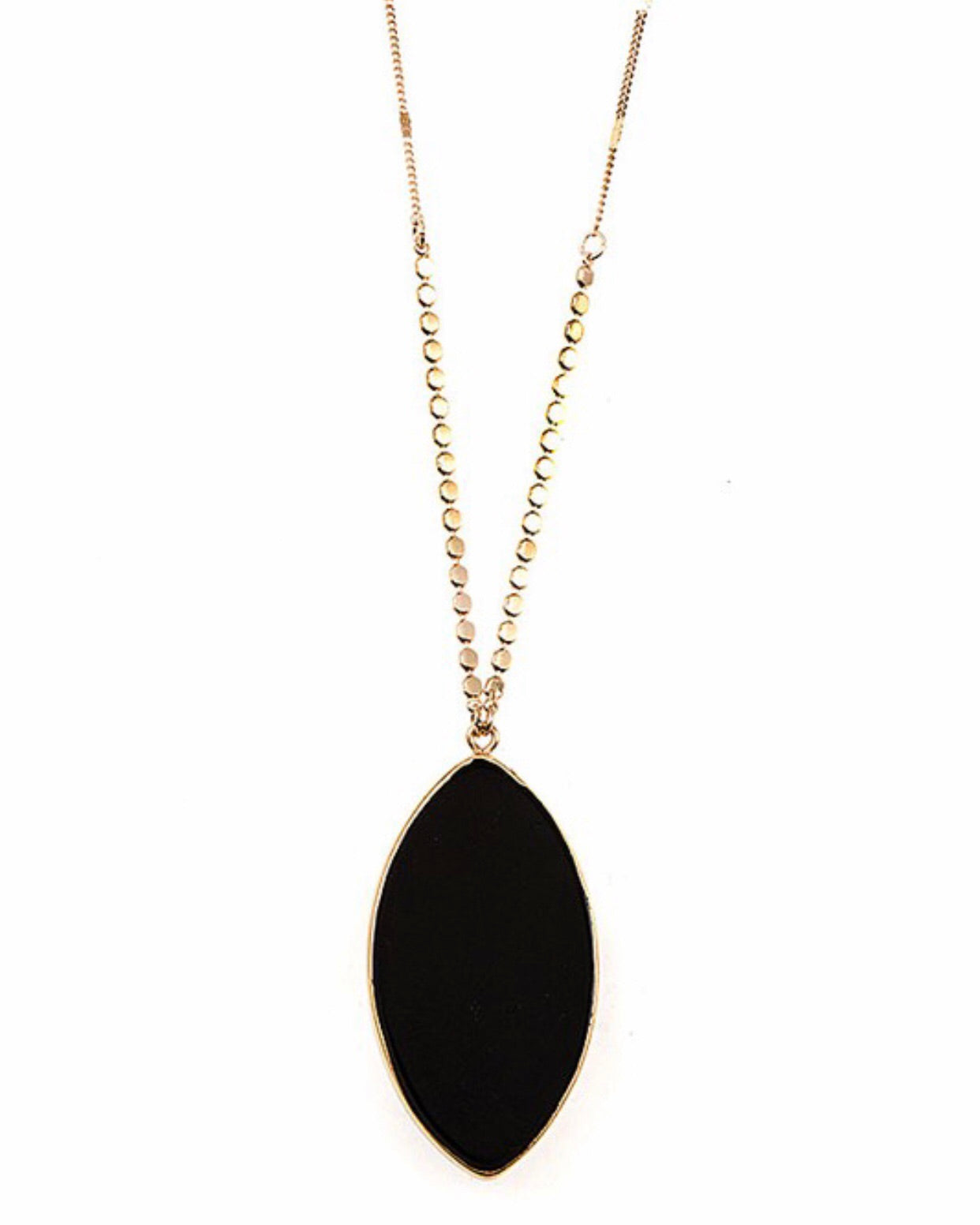 Elongated Stone Pendant Necklace