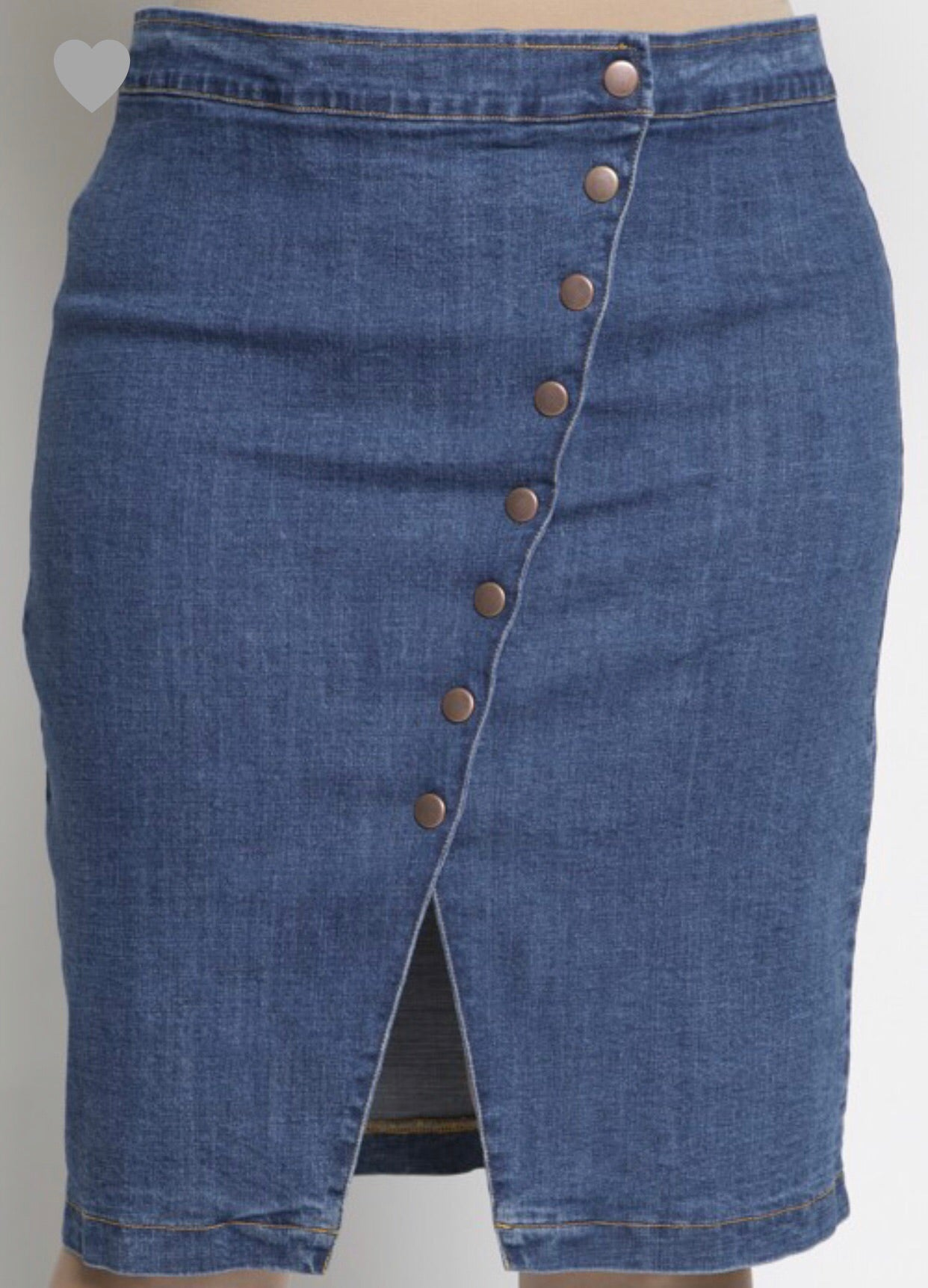 Snap Button Denim Knee Skirt
