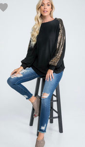 Brushed Sweater with Sequin Sleeve