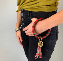 Load image into Gallery viewer, Key Ring Bracelet-  Red/Black Buffalo Check