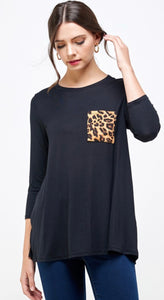 Solid Tunic Top with Leopard Pocket