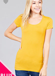 Basic Short Sleeve Scoop Neck Tee- Assrtd. Colors