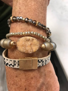 Layered Bracelet with Snakeskin and Stone Accents