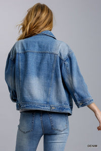 Collar Button Down Denim Jacket with Chest and Side Pockets