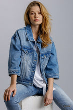 Load image into Gallery viewer, Collar Button Down Denim Jacket with Chest and Side Pockets
