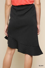 Load image into Gallery viewer, High Waist Pinstripe Skirt with Asymmetrical Ruffle Hem and Elastic Waistband