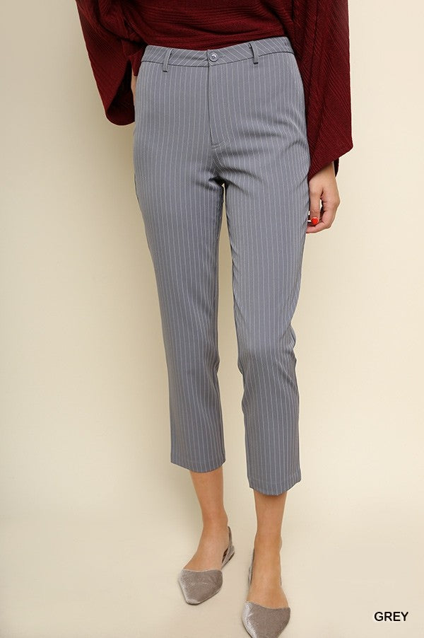 High Waist Pinstripe Straight Leg Pant