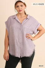 Load image into Gallery viewer, Washed Button Up Short Sleeve Top with Frayed Hemline