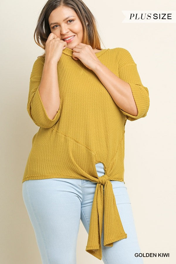 3/4 Sleeve Waffle Knit Round Neck Top
